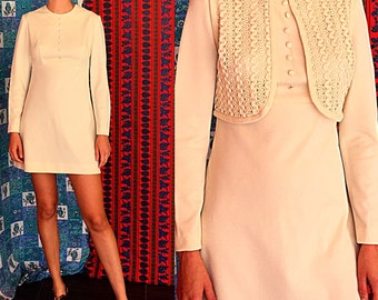 Mod Wedding Dress Crochet Dress Boho Wedding Mini Dress 60s Wedding Dress