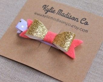 coral and gold glitter petite bow clips, baby hair clips