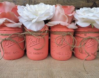 Coral Mason Jar, Coral Wedding Centerpiece, Coral Jars, Painted Mason Jars, Mason Jar Centerpiece, Coral Wedding Decor, Coral Decor, Coral