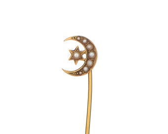 Antique 14k crescent moon & star with pearls stick pin