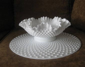 Vintage Fenton hobnail milk glass platter & double crimped ruffled bowl