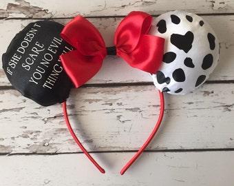 Cruella De Vil inspired glow in the dark ears, Disney, Disneyland, Disney World, Halloween, Villain, 101 Dalmation