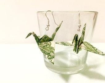 Handmade Dollar Bill Crane Earrings