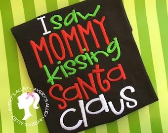 Kissing Santa - Boys Embroidered Black Christmas Shirt or Bodysuit