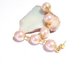 pink and gold earrings, pink dangly earrings, long dangly earrings