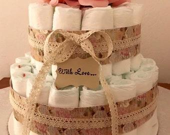 Rustic Rose Diaper Cake