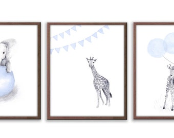 Nursery Wall Art, Kids Art, Playroom Wall Art, Baby  Boy Art, Baby Wall Art, Limited Edition Set Of Three Art Prints - SO63W