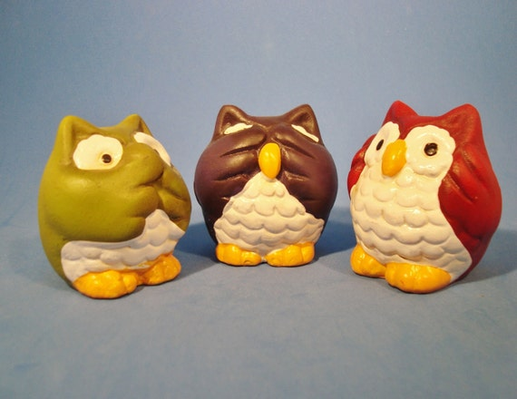 Three Wise Owls That Hear No Evil See No Evil By
