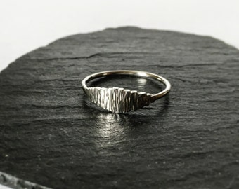 Silver ring with textured detail