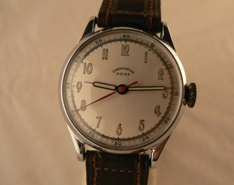 Chronometre Ancre Doctor's Style Wrist Watch by Wagner 15 Rubis Cal 741 Made in Germany 1940's