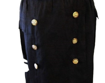 Escada by SRB Black Flax Linen Skirt with Gold Royal Buttons - Size 4/6