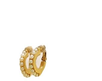 Gold Plated Pearl Half Hoop Clip On Earrings