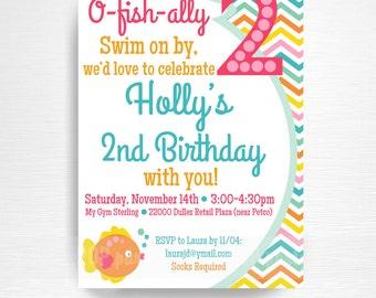 Goldfish Birthday Party Printable Invitation YOU Print Pink Aqua