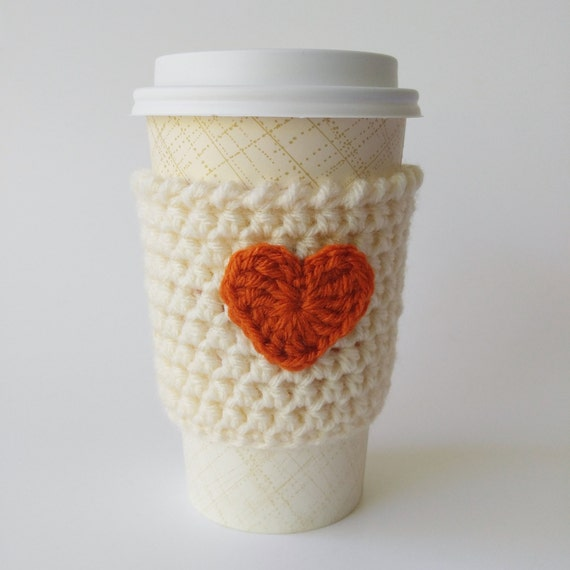 Pumpkin Spice Latte Coffee Cozy, Crochet Coffee Cup Cozy, Heart Coffee ...