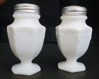 Vintage White Milk Glass Salt & Pepper Shakers - urn shape, farmhouse kitchen, cottage chic, metal lid, country, kitchen decor, collectible