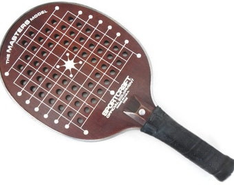 Vintage Sportcraft Paddleball Racquet - #13168, wood, leather handle - brown, sports, game, fitness, paddle, Made in USA, equipment