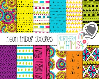 Neon Tribal Digital Paper - seamless hand drawn tribal patterns in hot pink, neon blue, lime green, yellow, orange & purple - commercial use