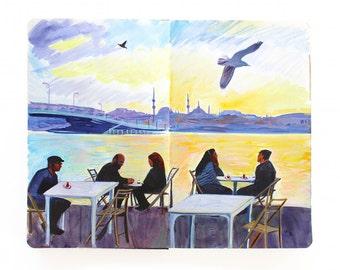 "Fine Art Print of Istanbul Cityscape Painting from Artist Travel Journal – ""Turkish Tea on the Bosphorus"""