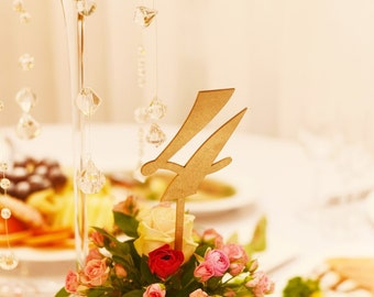 Gold table numbers. Wedding table numbers.