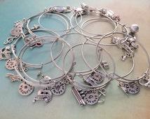 Adjustable bangle bracelet, Alex and Ani style bracelet, Custom bangle bracelet, Stainless steel bracelet, Charm bracelet