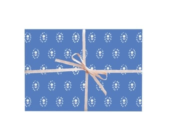 Blue Daisies Floral Wrapping Paper, Pretty Wrapping Paper, Pretty Gift Wrap, Floral Gift Wrap, Blue Wrapping Paper