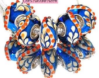 Beautiful Feather Motif Munrano Lampwork Glass Bead in Blue, Cream and Orange Fits Pandora / European / Large Hole Bracelets