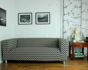 Ikea klippan 2 seat (180cm) sofa slip cover in Zigzag pattern cotton linen blend