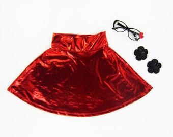 Girls Metallic Red Skater Skirt - Size 6/6X, 7/8, 10/12, 14 Ready to Ship