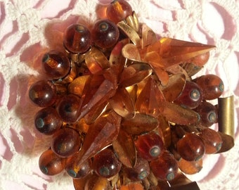 Vintage Amber Brooch Gold Tone 1950's Large Floral Pin Retro Jewelry Mid Century Jewelry Amber Pin - Very Cool!