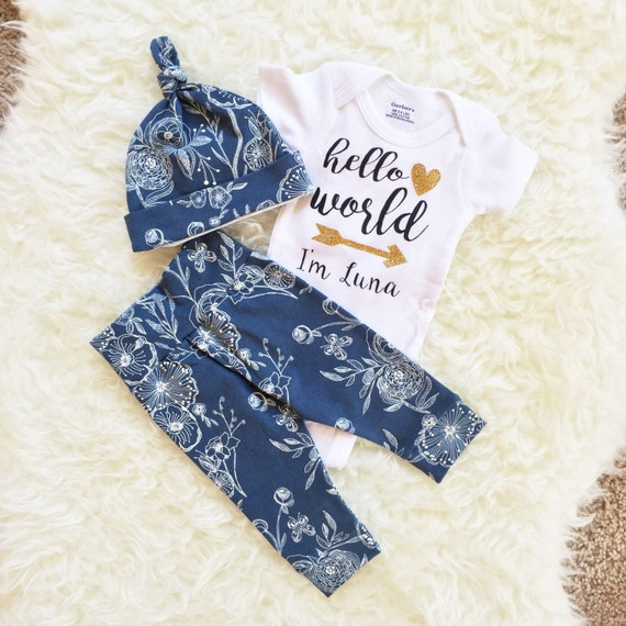 Going Home Outfit Hello World Newborn Set by ShopHausOfZoe on Etsy