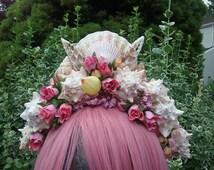 Mermaid crown ,custom crown, roses and shell crown, mermaid headpiece, costume accessory
