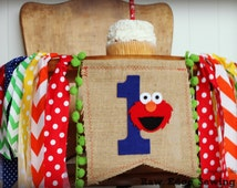 ELMO Birthday High Chair Highchair Banner Party Photo Prop Cake Smash Backdrop Primary Colors Sesame Street First One Elmo's World Any Color