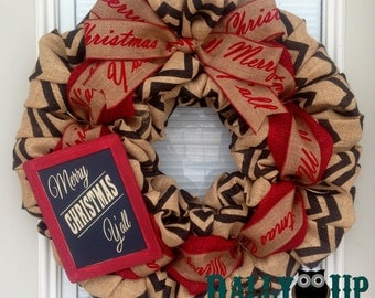 Merry Christmas Y'all  Wreath - Christmas Burlap Wreath - Black and Natutal Chevron Wreaths, Christmas Burlap, Merry Christmas Y'all Sign