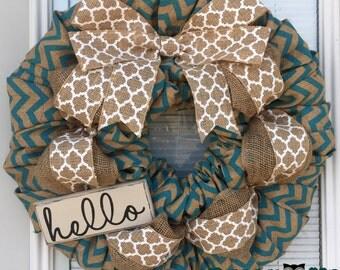 Easter Wreath, Spring Burlap Wreath, Hello Wreath, turquoise  Chevron Wreath, Burlap Wreath, Summer Wreath, Summer Burlap Wreath, Wreaths,