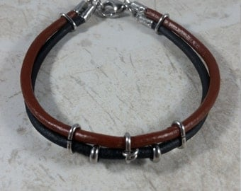 Genuine leather and stainless steel bracelet, leather bracelet, black leather bracelet, brown and black leather bracelet, free shipping