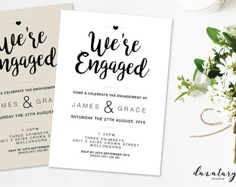 Printable Engagement Invitation - Modern Twist DIY