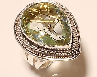 "Stunning Large Handmade Artisan Golden ""Venus Hair"" Rutilated Quartz & .925 Sterling Silver Ring Size 6"