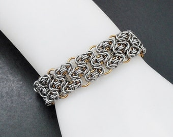 Two Tone Honeycomb Byzantine Cuff Bracelet - Stainless Steel & Brass Chainmaille