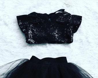 Audrey Hepburn baby black sequin crop top