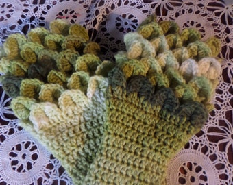 fingerless gloves, wristwarmer gloves, winter accessory, fingerless mittens, autumn gloves, crocodile stitch, winter gloves hand crochet