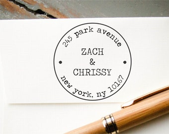 Self Inking Address Stamp, Personalized Address Stamp, Custom Stamp, Return Address Stamp, Old Typewriter Font, Round Postage Stamp Look