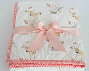 Baby Quilts Handmade~ Forest Nursery Quilt~ Coral Baby Deer Blanket~ Coral Baby Quilt~ Fawn Nursery~Homemade Quilts~Enchanted Forest Bedding