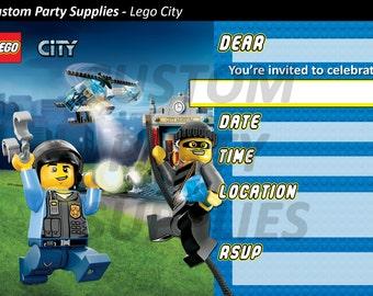 Lego City Birthday Party Invitations Printable