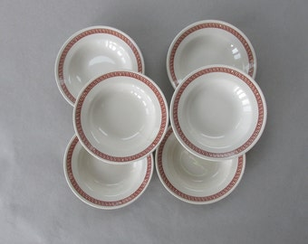 Vintage Mayer China Bowls - Troy pattern, Rust Brown Greek Key - set of 6 | cereal bowls, restaurant ware, restaurantware | Made in USA