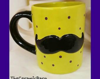 Mustache Mug | Ceramic Mug | Hand painted mug | Mustache | Polka-dots