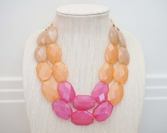 Pink, Peach, and Champagne Faceted Gem Statement Necklace