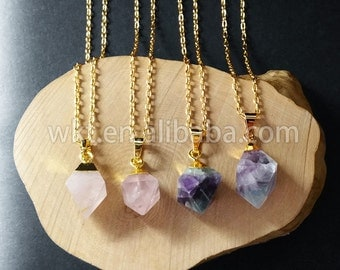 WT-N562 Wholesale Natural rose quartz fluorite stone necklace, Pretty charming raw stone necklace