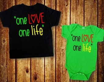 One Love, One Life, Bob Marley Inspired Toddler Shirt, Rasta Baby Shirt, Bob Marley Baby Shirt, Kids Jamaican Shirt, AppleCopter