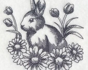 Bunny Towel - Easter towel - rabbit towel - Bunny tea towel - embroidered bunny  - Easter kitchen