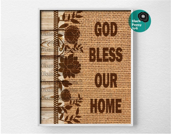 god bless our home quote burlap and wood wall by blackpoppyart. Black Bedroom Furniture Sets. Home Design Ideas